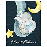 Personalized Elephant Baby Blanket for Boys with Name Custom Baby Blanket with Name for Baby Boy Soft Fleece Baby Blanket with Name Custom Blanket with Name Gift for Newborn Baby Boy & Girl, 30x40inch