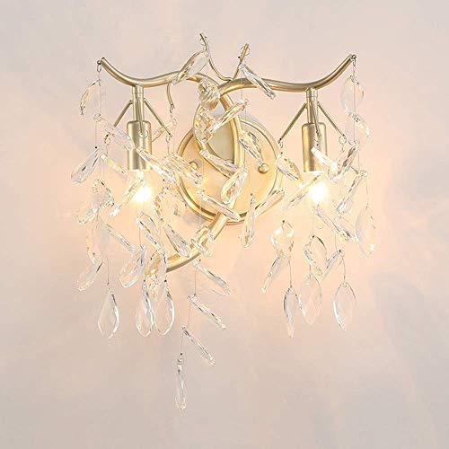 Wall Lamps, Retro European Golden American Country Crystal Wall Lamp Creative Simple TV Background Living Room Aisle Bedroom Crystal Candle Petal Wall Lamp 30 32 (cm) High Taste Hallway Wall LAMP-9744