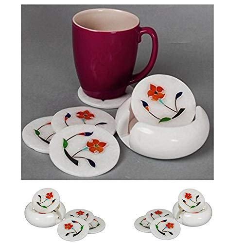 Elegant Set of 6 Handcrafted Marble Drink Coasters with a Holder & Mughal Inspired Floral Inlay by Store Indya