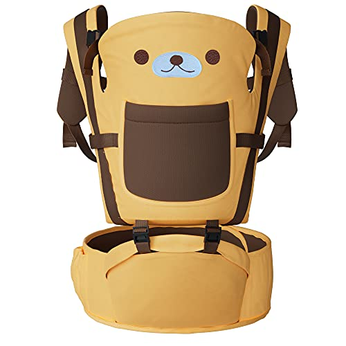 4-in-1 New Born Ergonomic Baby Carrier and Hip Seat Backpack, Cozy & Breathable Cotton, Infant & Toddle, Age 0-36 Months, 33 lbs. Weight Capacity (Honey Bear)