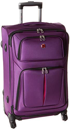 SwissGear Sion Softside Luggage with Spinner Wheels, Purple, Checked-Medium 25-Inch