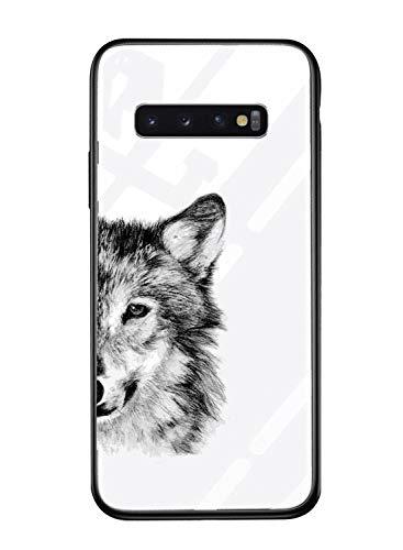 Alsoar Cover per Samsung S10 Cover Ultra Sottile Custodia per Samsung Galaxy S10,in Vetro Temperato AntiGraffii +Cornice in Silicone Bumper Morbido Antiurti Moda Disegni (lupo)
