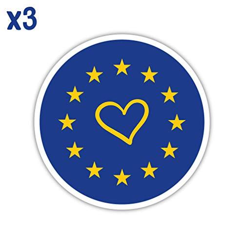 EU Hart Sticker, Europese Unie Vlag,10cmx10cm x3