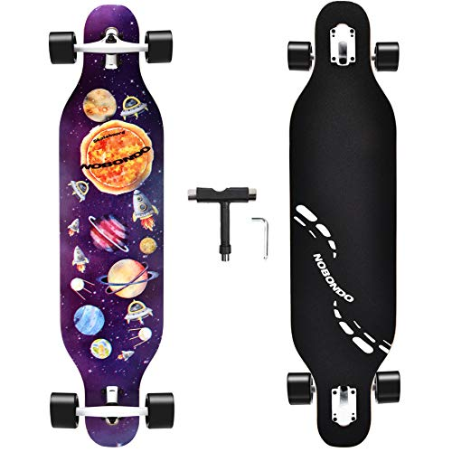 NOBONDO 41 INCH Drop Through Longboard Skateboard - Complete Freeride Long Board for Cruising, Carving, Free-Style and Downhill