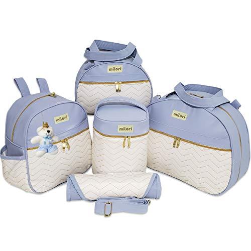 Bolsas de Maternidade com Mochila Bordado Zigzag Branco material Térmico Impermeável Cor: Azul Bebê