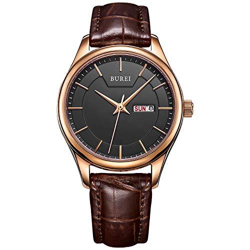 BUREI Ultra dünne Armbanduhr für Herren und Damen, analog, Quarz, Datumsanzeige, mit weichem Band