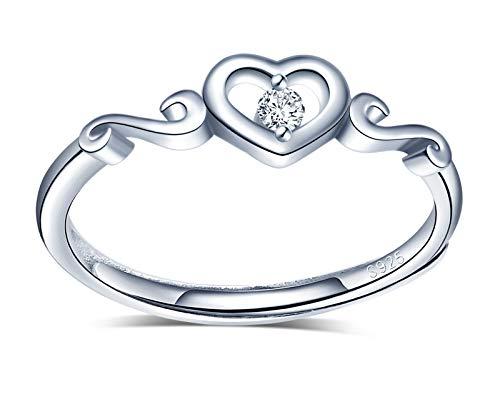 INFINIONLY Anelli aperto da donna ragazza, Anelli regolabile in argento sterling 925, anello cuore, anello nuziale, intarsio in zirconio, anello di fidanzamento