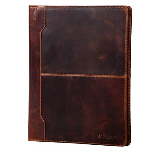STILORD 'Harrison' Portafolio Cuero Vintage complementos para Conferencias Maletín DIN A4 con Cremallera de Piel Autentico, Color:Kara - Cognac ✅