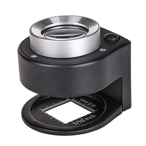 YOUZHA 1 Stück 30X Optische Glaslinse 6 LED Full Metal Folding Leinen Tester Lupe Lupe Fadenzähler Lupe mit Skala-Schwarz-