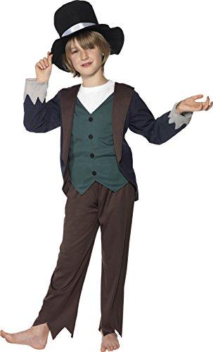 Smiffys Déguisement Enfant Pauvre 19e Siècle, Haut, Pantalon et Chapeau, Taille 10-12 ans, Couleur: Marron, 33708