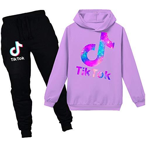 Jungen TIK Tok Hoodie Set Casual Langarm Sweatshirt Jugend Outdoor Lose Tasche Trainingsanzug Set Gr. 128, Violett + Schwarz 2