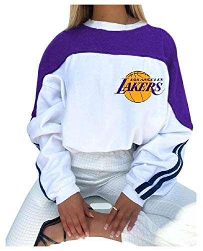 FDRYA Baloncesto Sudadera con Capucha Lakers Jersey para Mujer, Sudadera con Capucha Tops de Jersey Tops de Baloncesto Suelto Sudadera Abrigo Suéter Exterior Chándal White-S