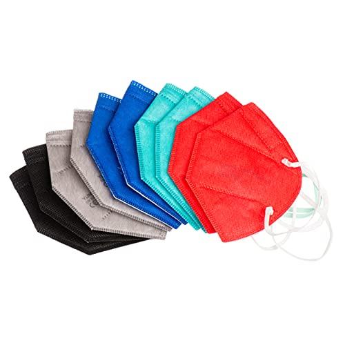 ProMedicalCare. Mundschutz FFP2 Masken Farbset für Männer, Mundschutz Maske FFP2 in den Farben Schwarz, Grau, Rot und Blau, Masken Mundschutz FFP2, 10er Pack