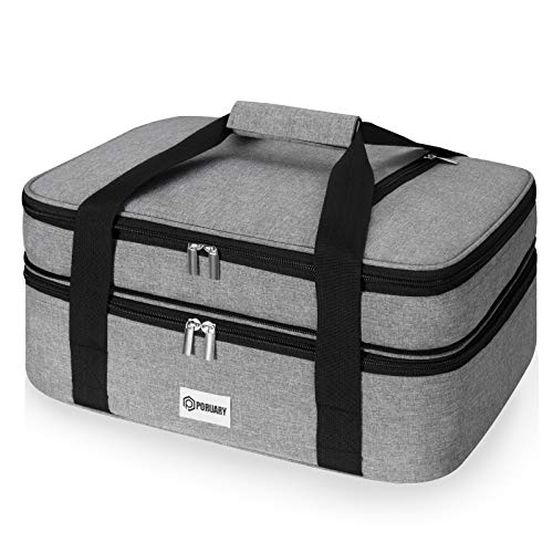 """Poruary Casserole Carrier for Hot or Cold Food,Expandable Insulated Bag,Perfect Lasagna Holder Tote for Potlucks, Picnics,Beaches,Traveling or Gifts,Fits 9""""x13"""" Baking Dish,Gray"""