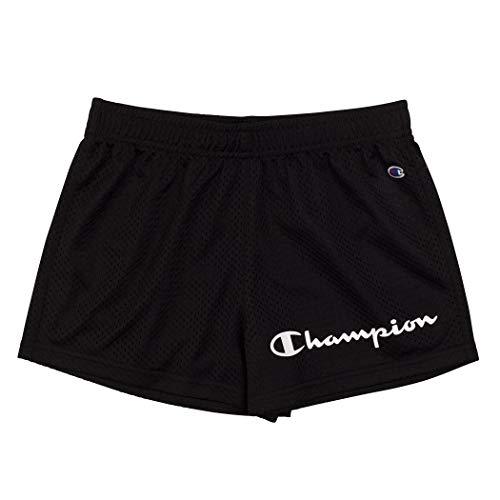 Champion Girls Heritage Foldover Mesh Running Basketball Short 2.75 Inch Inseam (Large,Varsity Black-Mesh)