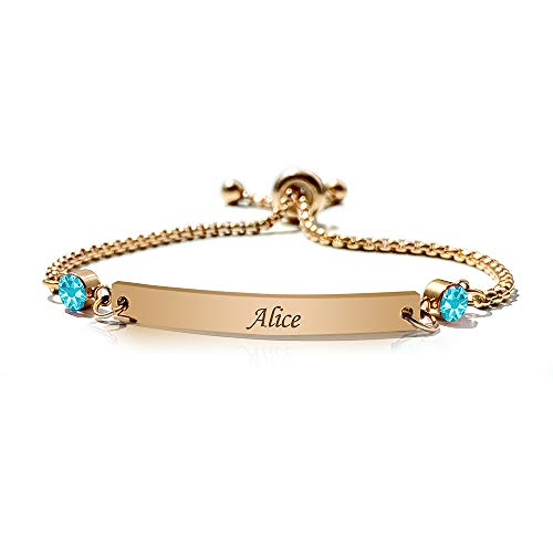 howson london Personalised Birthstone Bracelets Valentine for Her Friend Mum Sister Bridesmaid Auntie Girlfriend December Birthstone Gift for Birthday 13th 16th 18th 21st 30th 40th 50th 60th