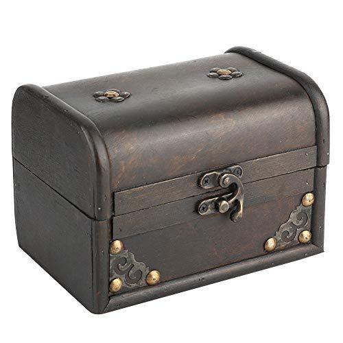 WESE Caja de Almacenamiento de Madera, Caja de Soporte de joyería, Caja Fuerte Vintage de Usar para Collar para Pendientes
