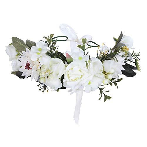 Couronne de fleurs Bandeau Coiffure de festival - Fait main Fleur Couronne de cheveux avec ruban Baie Bandeau de fleurs pour femmes et filles Robe (Blanc + Beige)