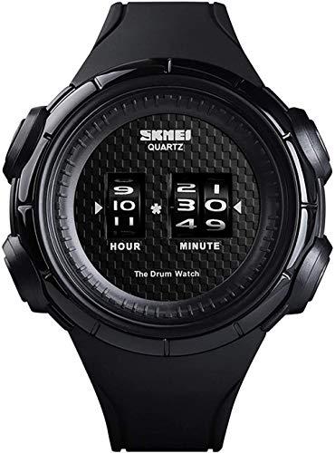 Reloj de moda para exteriores, con tecnología de desplazamiento digital, color rojo, cierre de acero inoxidable, color blanco y negro