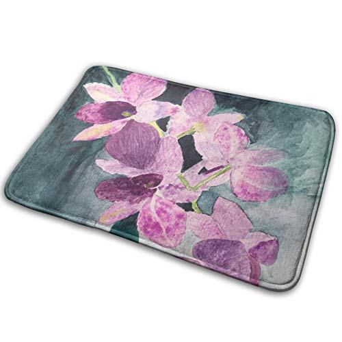 Beautiful Purple Orchids Memory Foam Bath Mats, Soft Non Slip Absorbent Bath Rugs for Livingroom & Bathroom Rug Carpet 15.8' x 23.6'