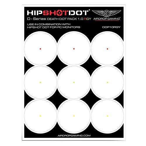 HipShotDot D-Series Death Dot Pack - Reusable Transparent Aim Sight Assist TV Decals - Gaming Television or Monitor Decal for FPS Video Games Compatible with PC, Xbox & Playstation (1.0 RGY)
