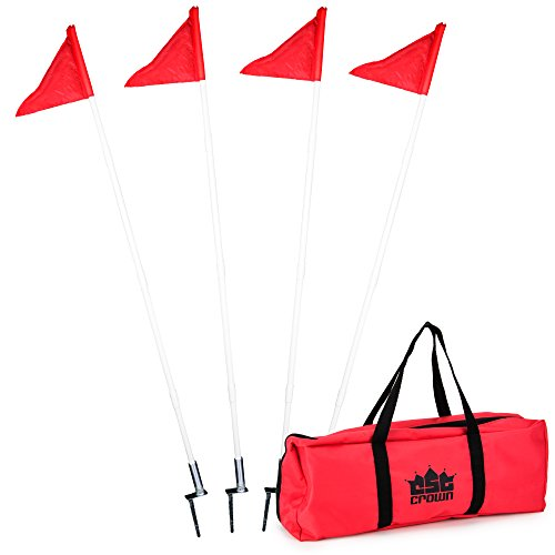 4 Pack of Soccer Corner Flags - Collapsible Spring Loaded Steel Base with Carrying Bag by Crown Sporting Goods
