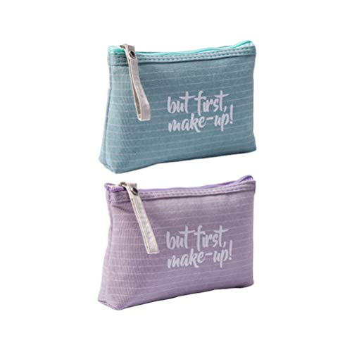 Minkissy 2pcs Women Cosmetic Bag Travel Toiletry Bag Organizer Letter Printed Storage Bag Purse Portable with Zipper for Ladies Outdoor Home (Green Purple)
