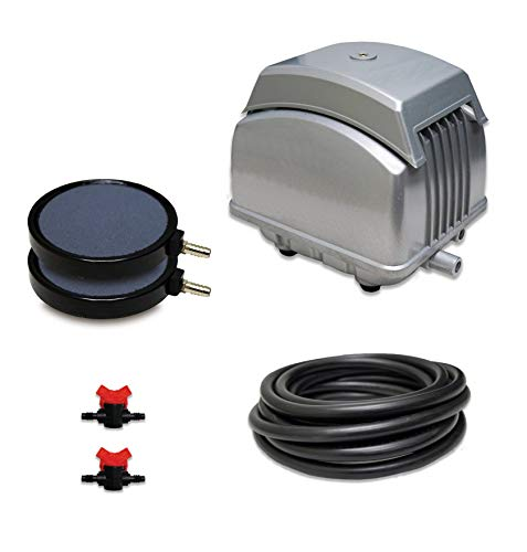 """Patriot Pond Subsurface Aeration System with 2.1 Cubic Feet per Minute Air Pump, Ponds to 5,000 Gallons, 25' Weighted Tubing, (2) 5"""" Diffusers, (2) Ball Valve Manifolds and T - Half Off Ponds PAK-45K"""