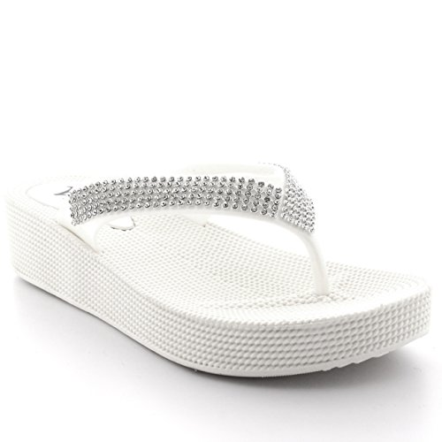 Womens Beach Holiday Thong Sandals Jelly Wedge Heel Diamante Flip Flops - White - UK3/EU36 - PN0002