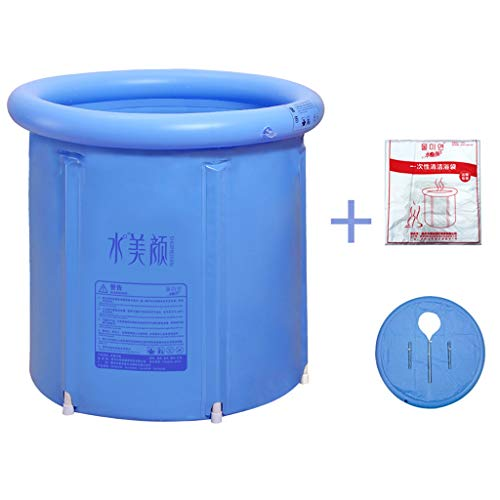 ZhanYI Badkuip van kunststof, draagbaar, voor volwassenen, badkamer, opblaasbaar, PVC, verdikt spa-badkamer, met compressor, groot, blauw