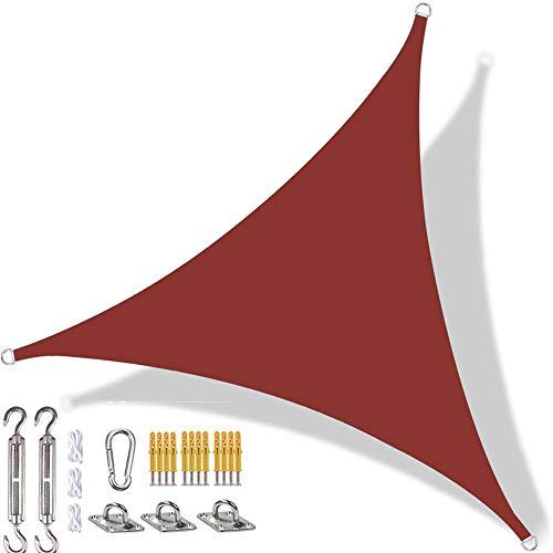 YAOYI Toldo triangular de vela con protección solar impermeable, protección UV, para exteriores, terraza, patio, con kit de fijación y cuerda (2 x 2 m, rojo óxido)