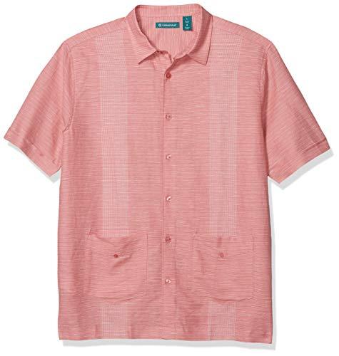 Cubavera Men's Yarn Dye Stripe Fashion Guayabera, Mauveglow, XX Large