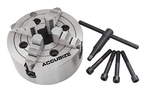 Cheapest Price! Accusize Industrial Tools 8'' 4-Jaw Independent Lathe Chucks, Plain Back, Semi-Steel...