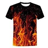 Manga Corta para Hombre Costura en Contraste Escote CamisetaImpresión Digital llama-TX585_XXXL