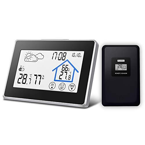 Wetterstation, DIGOO DG-TH8380 Wetterstation mit Funk, Wetterstation Farbdisplay mit Touchscreen, Innen- und Außenthermometer Hygrometer, 3 Außenkanäle