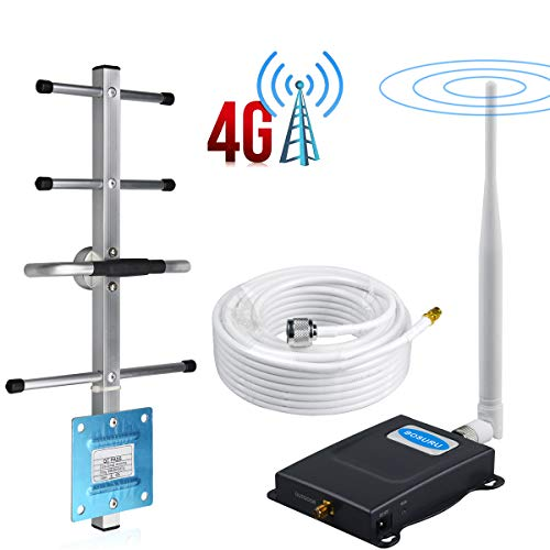 AT&T Cell Phone Signal Booster 700Mhz FDD Band12/17 T-Mobile Cell Phone Booster ATT Cell Signal Booster Amplifier BOSURU Enhance 4G LTE Voice and Data Signal with Whip+Yagi Antenna Kits for Home Use