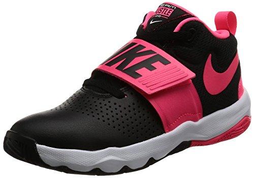 Nike Kids' Team Hustle D 8 (GS) Sneaker, Black/Racer Pink - White, 6 M US Big Kid