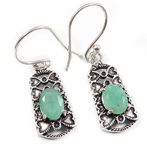 Goyal Crafts Esmeralda facetada plata plateada Natural piedra pendiente joyería GGTER10O