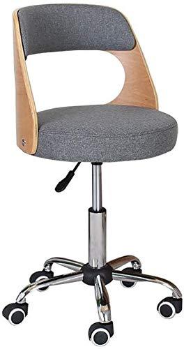 Taburete de barra de oficina Silla de escritorio de oficina con ruedas, cuero de la PU Rolling Taburete redondo, silla de madera ajustable para salón Rodamiento de salones Redacción de robo de taburet