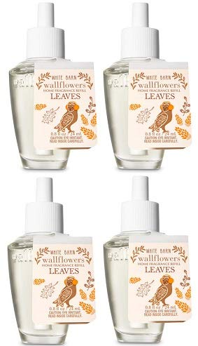 Bath and Body Works 4 Pack Leaves Wallflowers Fragrances Refill. 0.8 Oz.
