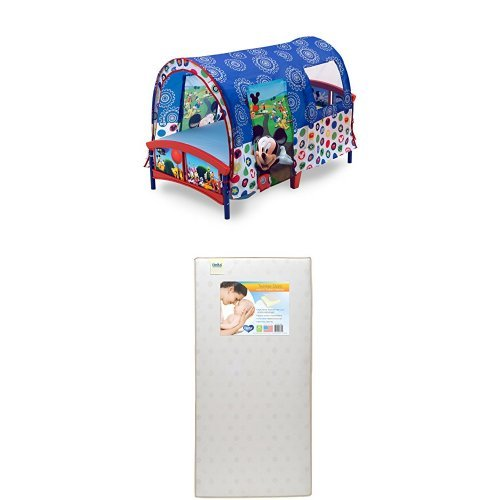 Delta Children Toddler Tent Bed, Disney Mickey Mouse with Twinkle Stars Crib & Toddler Mattress