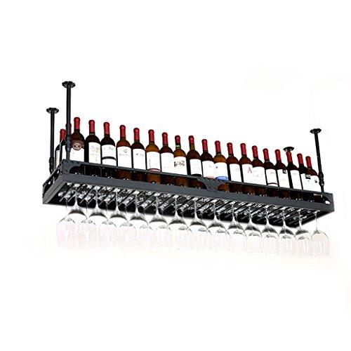 JUN BOTELLERO Estante de Metal Forjado montado en la Pared Loft de Hierro Estante de Vino Tenedor para Colgar Estante de Copa de Vino para restaurantes, Barras de Altura Ajustable de 30~60 cm