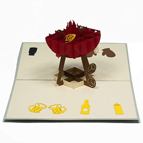 Favour Pop Up Glückwunsch- /Einladungskarte. Ein filigranes Kunstwerk, das sich beim Öffnen als Grill mit Zubehör entfaltet. ALTF071