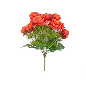 Orange-Ranunculus Bush 12 Artificial Silk Flowers 18″ Bouquet