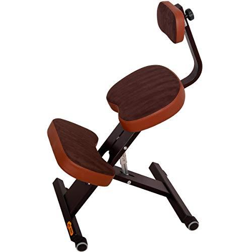 MOV Ergo-Comfort Plus Kniestuhl Kniehocker Sitzhocker Bürohocker Gesundheitsstuhl - höhenverstellbar, bequem gepolstert, rollbar. (Mocca)