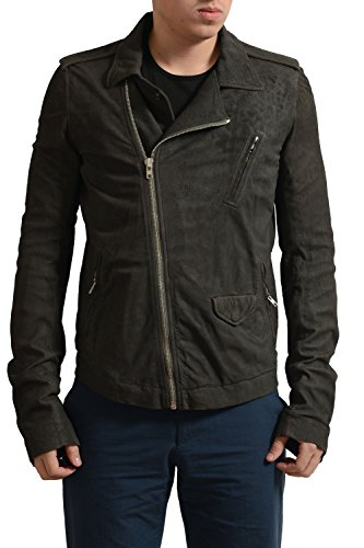 Rick Owens Men's Gray Distressed Look 100% Leather Motorcycle Jacket US L IT 52