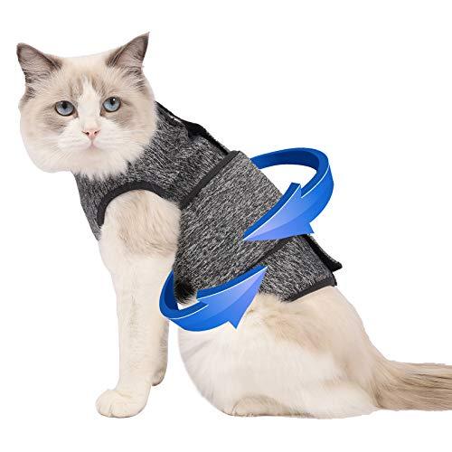 Coppthinktu Cat Anxiety Jacket, Thunder Vest for Cats, Cat Anti Anxiety Vest, Shirt for Cat, Cats Calming Wrap Vet Recommended Calming Solution Vest for Fireworks, Thunder, Travel, Separation