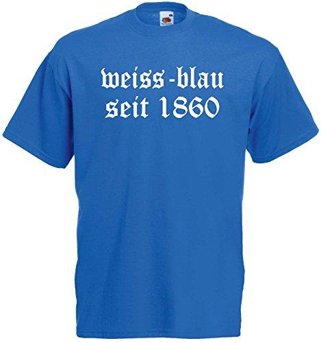München Löwen Herren T-Shirt Weiss-blau seit 1860 Shirtroyalblau-XXXL