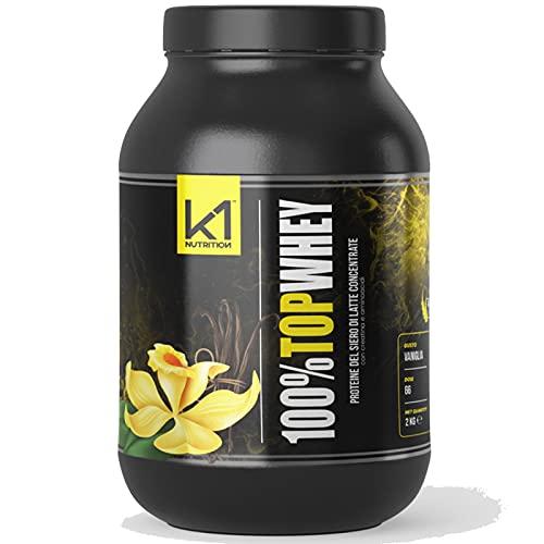 K1 NUTRITION 100% TOP WHEY 2 Kg Proteine del Siero Latte con Creatina Taurina Aminoacidi Per la crescita ed il mantenimento della massa muscolare (VANIGLIA)