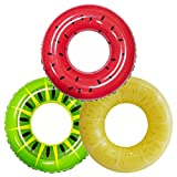 """Inflatable Pool Floats 32.5"""" (3 Pack), Fruit Pool Tubes, Pool Toys for Swimming Pool Kids Adults Beach Outdoor Party Supplies"""